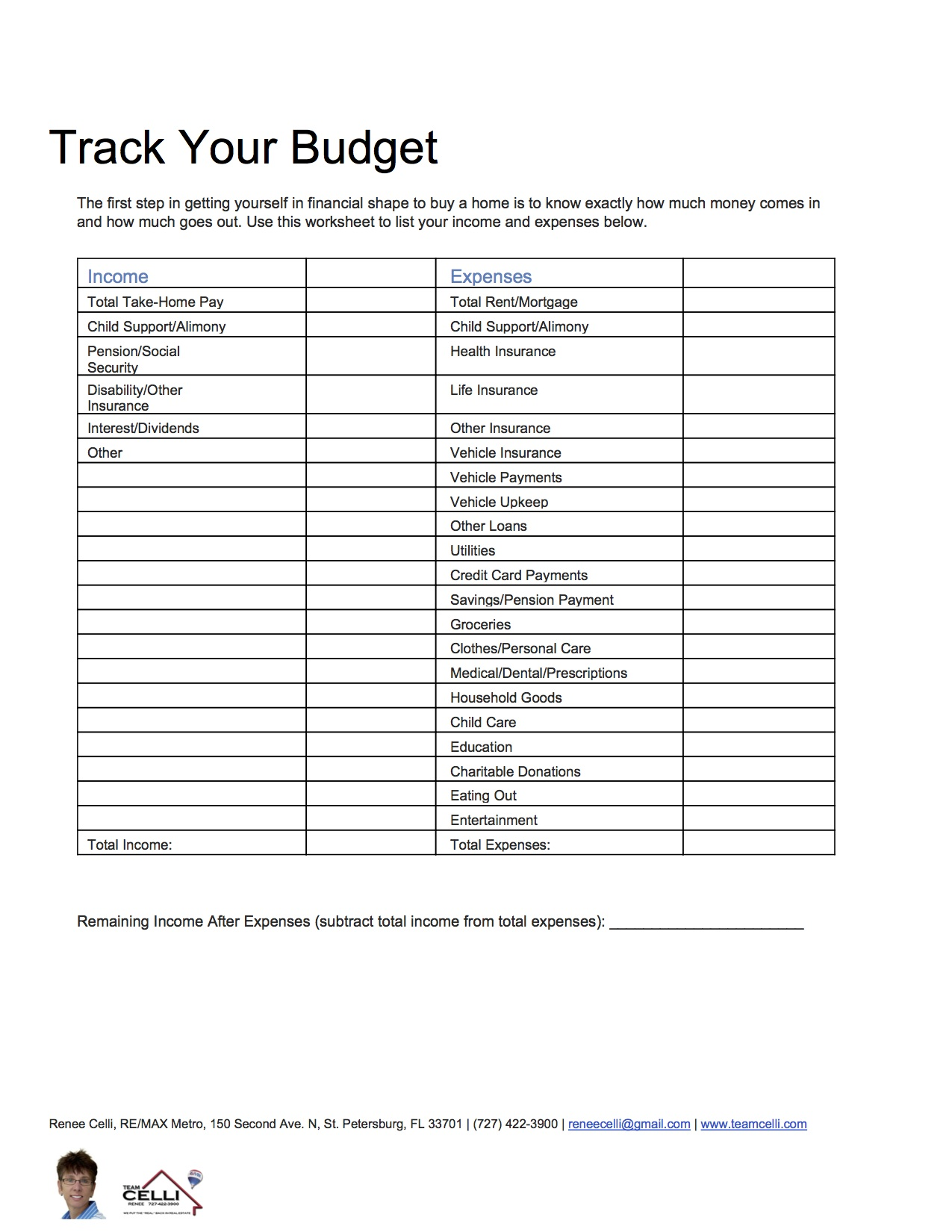 Use A Budget Worksheet To Prepare For Buying A Home