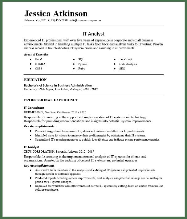 It Analyst Resume Sample Resumecompass