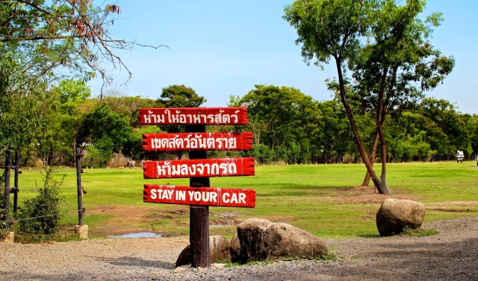 Red wooden signs saying Stay In Your Car at the Safari World Bangkok