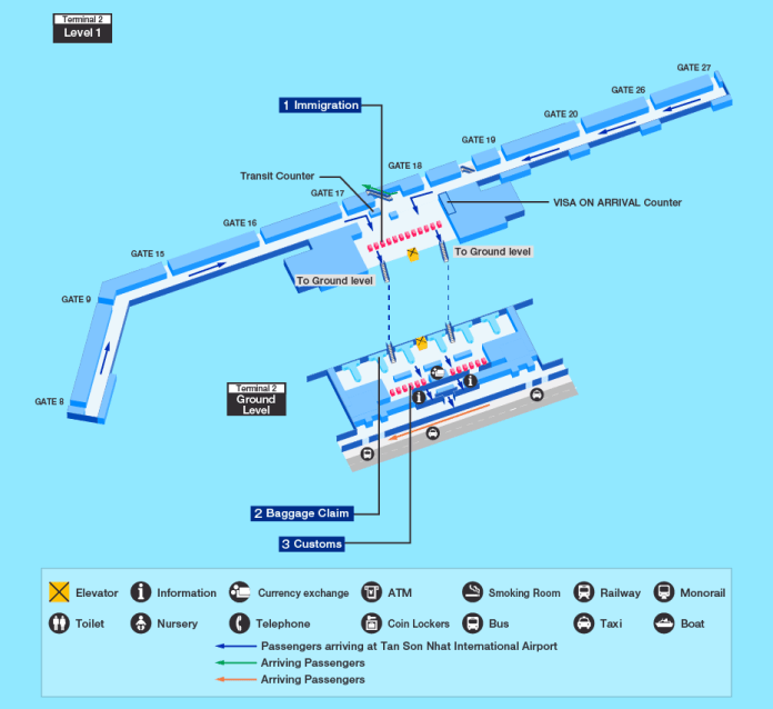 Ho Chi Minh City Airport map - Arrival