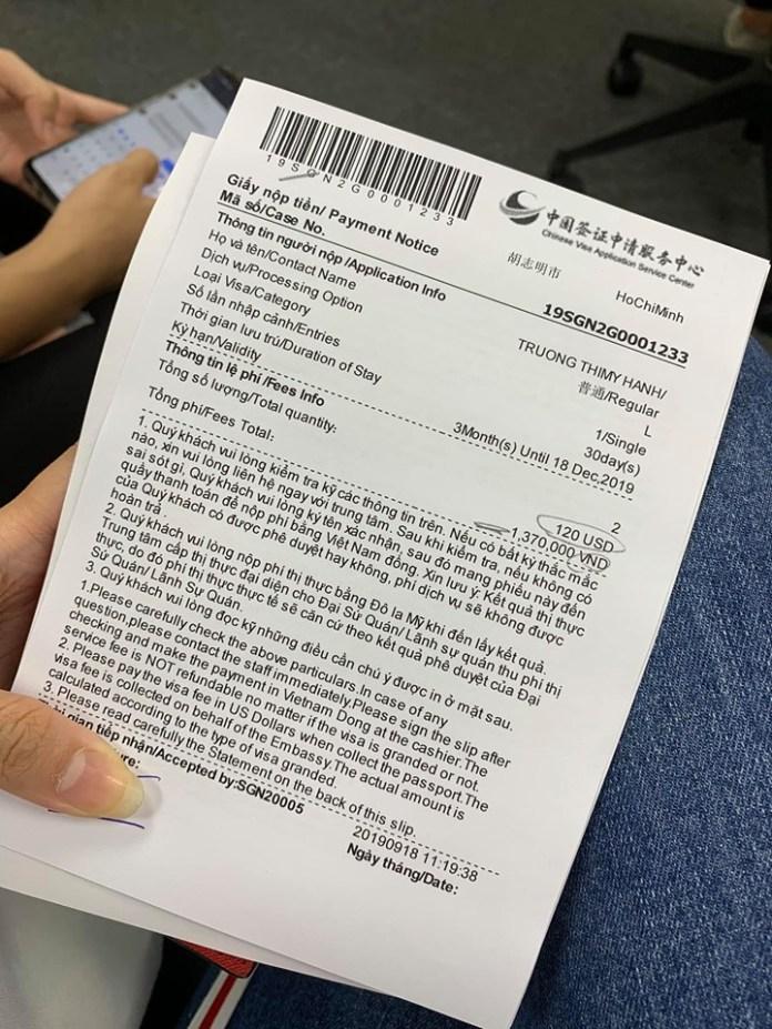 Biên nhận nộp phí thị thực