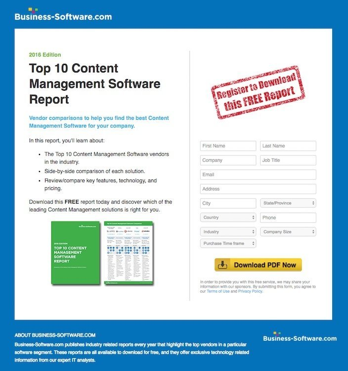 This picture shows marketers why Business-Software has one of the best landing pages you'll find online.