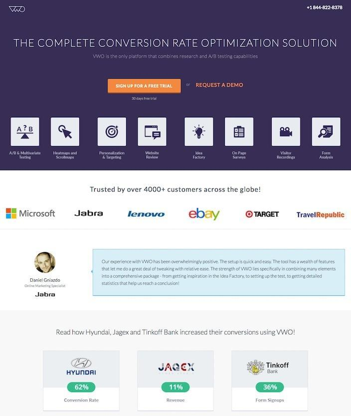 This picture shows marketers why VWO has one of the best landing pages you'll find online.