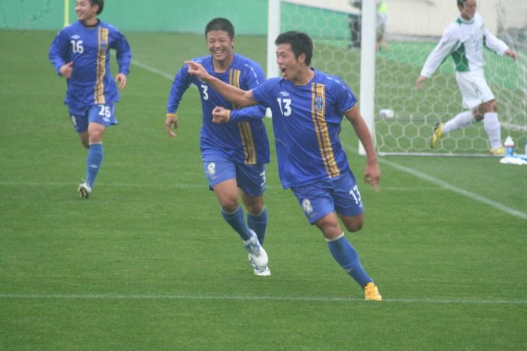 この日2ゴール目の阪南大のFW前田央樹選手。大会通算4ゴール杜なった