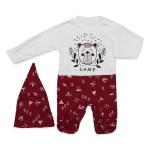 Baby's Printed Claret Red- White Romper & Beanie Set