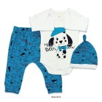 Baby Boy's Dog Print Blue White Outfit- 3 Pieces