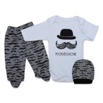 Baby Boy's Printed Grey White 3 Pieces Outfit Set