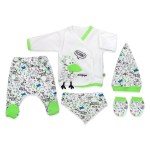 New Born Baby's Printed Outfit- 5 Pieces