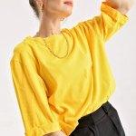 Women's Roll-up Sleeves Slit Shabby Yellow T-shirt