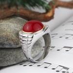 Men's Green Agate & Diamond Gem Ring