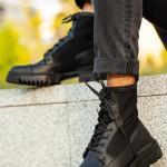 Men's Lace-up Black Postal Boots