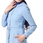 Women's Hooded Blue Topcoat