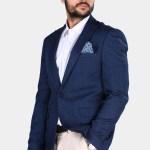 Men's Navy Blue Grizzled Blazer Jacket
