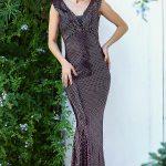 Women's Fish Model Sequin Damson Evening Dress