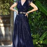 Women's Sequin Navy Blue Evening Dress