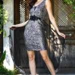 Cape Detail Sequin Silver Dress