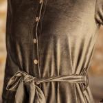 Women's Shirt Collar Khaki Short Dress
