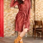 Shirt Collar Tile Red Short Dress