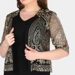 Oversize Gem Embroidered Jacket Detail Dress
