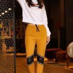 Women's Elastic Ankles Mustard Sweatpants
