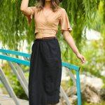 Women's Belted Black Midi Skirt