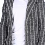 Men's Striped Anthracite Cardigan