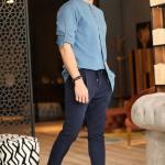 Men's Elastic Waist Navy Blue Sweatpants