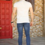 Men's Ripped Navy Blue Jeans