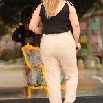Women's Oversize Belted Pocket Beige Pants