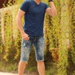 Striped Sides Denim Capri Shorts