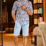 Men's Pocketed Ice Blue Capri Shorts