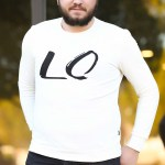 Men's Oversize Printed Ecru Sweater