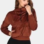 Women's Hooded Pocket Tile Red Velvet Sweatshirt