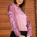 Women's Hooded Sequin Detail Powder Rose Velvet Sweatshirt