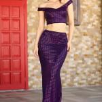 Women's Sequined Purple 2 Pieces of Evening Skirt Top Set