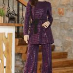 Women's Sequined Purple Tunic Pants Set