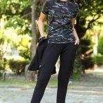 Women's Oversize Camouflage Pattern Black Sweat Suit