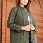 Women's Shirred Waist Pocket Khaki Trenchcoat