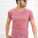 Men's Patterned Maroon T-shirt