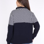 Women's Oversize Zip Collar Patterned Top Navy Blue Blouse
