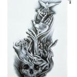 Hand & Skull Design Temporary Tattoo