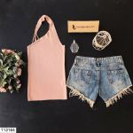 Women's Collar Detail Powder Rose Tricot Blouse