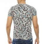 Men's Collarless Patterned Green Slim Fit T-shirt