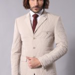 Men's Beige Quilted Slim Fit Jacket