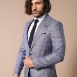 Men's Surplice Neckline Button Blue Jacket