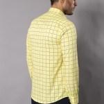 Men's Checkered Yellow Slim Fit Shirt