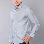Men's Self-Pattern Grey Slim Fit Shirt