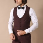 Men's Claret Red Formal Suit Set