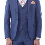 Men's Surplice Neckline Navy Blue Formal Suit Set