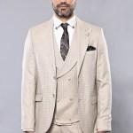 Men's Patterned Beige Formal Vest Suit Set